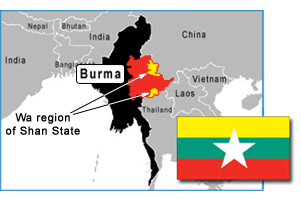 Burma map showing the Wa region in the Shan State