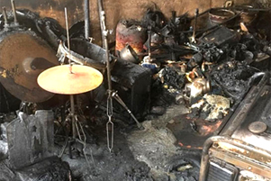 Musical instruments destroyed by fire - Photo: Barnabas Fund www.barnabasfund.org