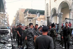 Bomb attack on Syrian-Orthodox church in Qamishli - Photo: Voice of America www.voanews.com/
