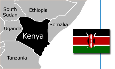 Kenya map & flag