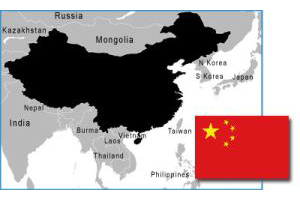 China map and flag