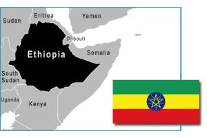 Ethiopia map and flag